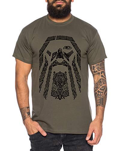 Odin - Herren T-Shirt Odin Raben Wikinger Wodan Valhalla Rising Walhalla Vikings, Größe:XXL, Farbe:Khaki