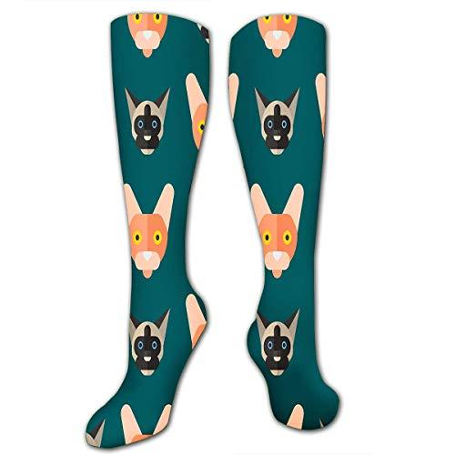 shenguang Calcetines hasta la rodilla Calcetines largos deportivos deportivos Desayuno Concepto de gato con croissant y caf