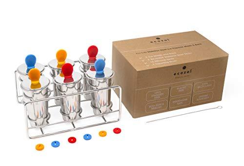 Ecozoi - Öko-sichere Eiszapfenformen und -gestelle aus Edelstahl - 6 Eiswürfelbereiter + 6 wiederverwendbare Edelstahlstäbchen + 12 Silikondichtungen + 1 Gestell + 1 Reinigungsbürste