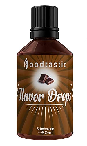 Foodtastic Flavor Drops Schokolade 50ml | Flavdrops Aroma Tropfen | kalorienfrei Süßen I ohne Zucker | Lebensmittelaroma Flavour Drops Flave Drops Geschmackstropfen