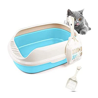T-Buy Cat Litter Box, Cat Litter Tray,Cat Sand Basin,Semi-Enclosed Anti-Splash Detachable Pet Cats Sand Litter Box(680 * 400 * 300mm)