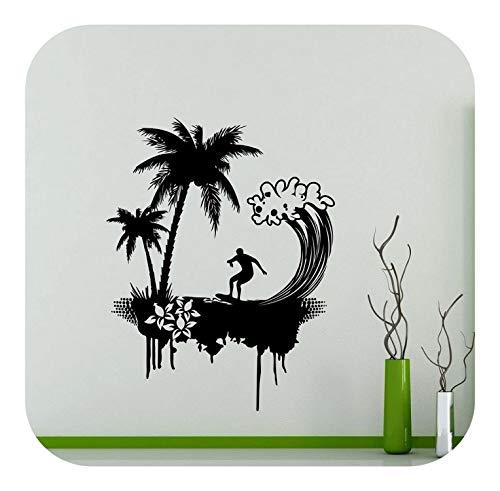 Wandtattoo Aufkleber, Surfen Enthusiasten Vinyl Wandtattoos Ocean Palm Tree Beach Kinder Schlafzimmer Schule Schlafsaal Badezimmer Dekoration Aufkleber 2CL3-Rot-42x54cm