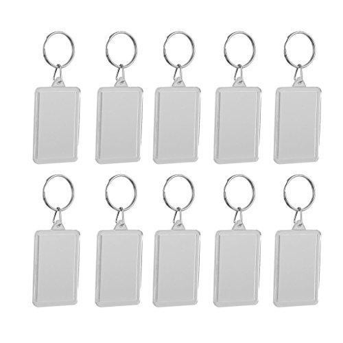 Unbekannt 10 pcs rectangulaire Porte-clés Porte-clés avec Photo Acrylique Cadre Photo 2.8 x 4.9 cm