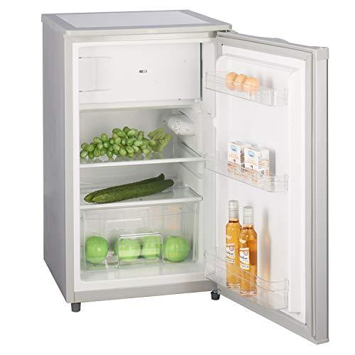 Stillstern Kühlschrank mit Gefrierfach E (88L) 4-Sterne-Gefrierfach und LED-Beleuchtung, Abtauautomatik, Glasablagen, Gemüsefach, Türablagen, Silber