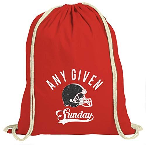 Shirt Happenz Falcons Any Given Sunday Atlanta American Football Super Bowl Turnbeutel Unisex Gymbag, Größe:37cm x 46 cm, Farbe:Rot (Gymbeutel)