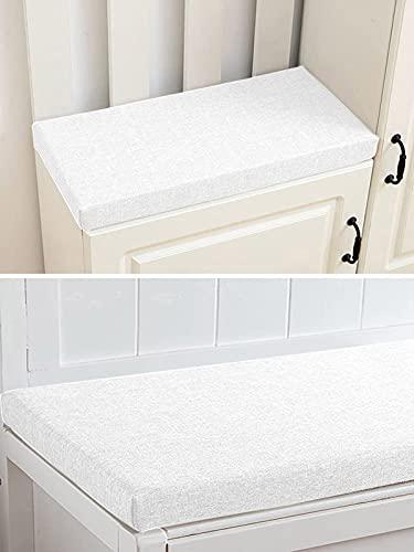 Gartenbank-Kissen für 2- und 3-Sitzer, für drinnen und draußen, 100 / 120 cm, Terrassenschaukel-Sitzauflage (90 x 30 x 5 cm, weiß)