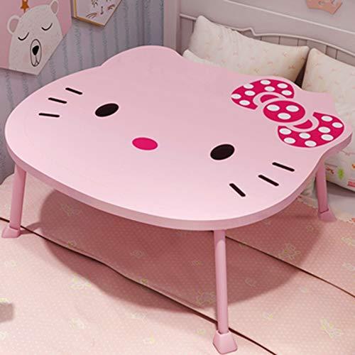 Huoqilin bed en een kleine tafel, voor het zitten van de slaapkamer, cartoon-cartoon-motief, inklapbare tafel, voor kinderkamer, kantoor of thuis. S Roze