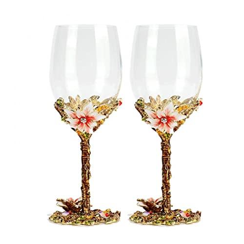 Tazas de cristal de vino esmaltadas de 320 ml, para esposa, mamá, niña en cumpleaños, día de San Valentín, día de la madre, boda (doble - juego regular)