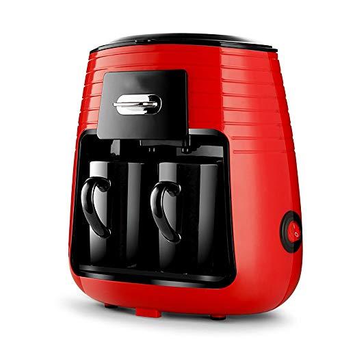 Koffiezetapparaat, automatisch, koffiezetapparaat, espressokoker en koffie, druppeldruppels, dubbele beker met afneembaar afdruiprek, herbruikbaar, rood