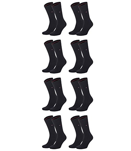 TOMMY HILFIGER Herren Classic Casual Business Socken 8er Pack  ( Black , 39-42 )