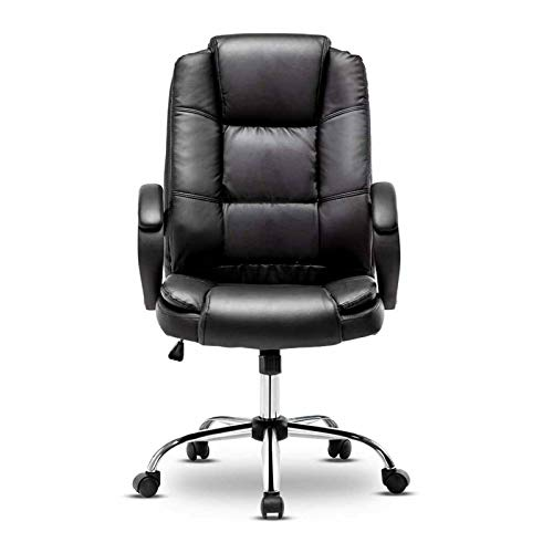 XYANZ Silla de oficina ajustable, giratoria de 360°, silla ergonómica de piel sintética, silla de ordenador con reposacabezas y soporte lumbar, color negro