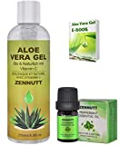 Aloe Vera Gel Pure,250ML Organic Aloe Vera Moisturizer w/Free e-Book & Peppermint Essential Oil for Face Hair Skin Body Care,Aftershave Gels for Men,Birthday Gifts for Women Her Mum