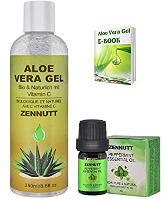 Aloe Vera Gel Pure,Organic Aloe Vera Moisturizer w/Free e-Book & Peppermint Essential Oil for Face Hair Skin Body Care,Aftershave Gels for Men,Birthday Gifts for Women Her Mum from ZENNUTT