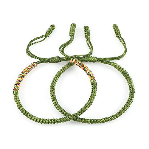 yqs Pulsera clásica para parejas, trenzas, hilo multicolor, pulsera de cuerda de la suerte, pulseras para hombres y mujeres, joyería minimalista verde