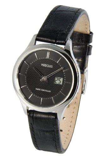 Elegante MARQUIS Damen Funkuhr (Junghans-Uhrwerk) Edelstahlgehäuse, Schwarzes Lederarmband mit Edelstahlverschluss 964.4915