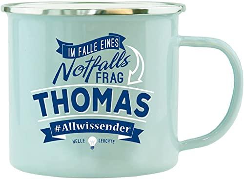History & Heraldry Echter Kerl - Emaille Becher Thomas - mit Name und Spruch
