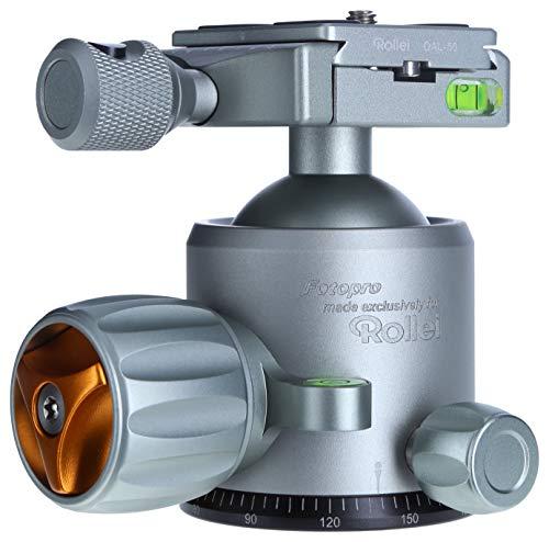 Rollei Lion Rock Stativkopf 20 - Robuster 360° Panorama Kugelkopf aus Aluminium mit Einer Belastbarkeit von bis zu 20 kg, Arca Swiss kompatibel, inkl. Schnellwechselplatte