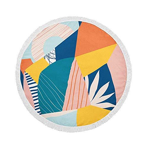 Manta de Toalla de Playa Redonda, Bloques de Colores de Frutas y Plantas, Esterilla de Yoga Circular Grande de Gran tamaño de 59 Inch con borlas de Flecos