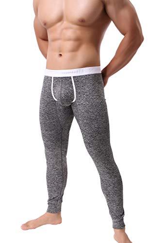 KAMUON Men's Low Rise Pouch Underwear Pants Long Johns Thermal Bottoms Leggings (US L = Asian Tag XL : Waist 34'-36', Black #2)