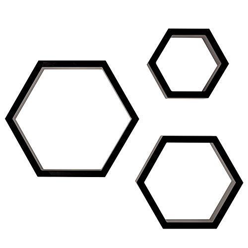XQK 3 Piezas Juego De Estante Hexagonal Montado En La Pared, Estante De Almacenamiento De Pared Moderno, Decoraciones De Panal para Sala De Estar, Dormitorio