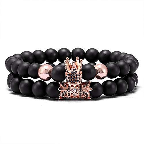 FBXXX 2 stuks/set van nieuwe klassieke bal kroon mannen armband natuursteen kralen armband dames mannen mode sieraden geschenken