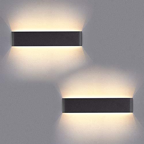 Yafido 2er Wandleuchte Innen LED 40CM Wandlampe Up Down Wandbeleuchtung Wandstrahler 14W Warmweiß 3000K für Schlafzimmer Wohnzimmer Flur Treppen AC 230V