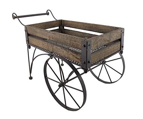 Rustic Wood and Metal Wagon Cart Style Plant Stand 24 Inches Long