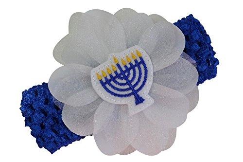Hanukkah Jewish Menorah Baby and Toddler Crochet Flower Headband