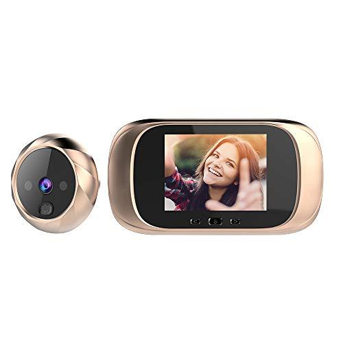 OWSOO Mirilla Digital con Pantalla LCD de 2.8 Pulgadas, Visor Mirilla Puerta, Soporte Vision Nocturna, Tomas de Fotos para Seguridad del Hogar-Oro