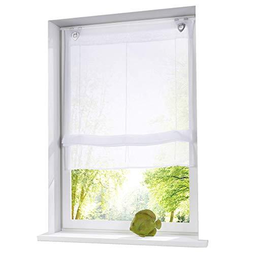 ESLIR Raffrollo ohne Bohren Raffgardinen mit U-Haken Ösenrollo Voile Gardinen Transparent Vorhänge Modern 1 Stück Weiß BxH 80x130cm 1 Stück