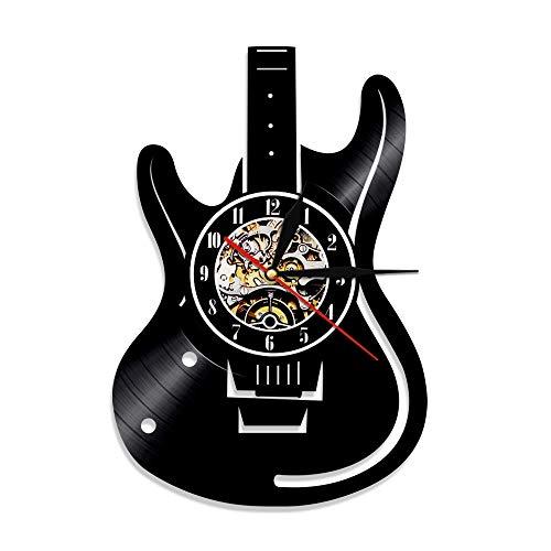 LKJHGU Reloj de Pared de Guitarra, Reloj de Pared con Disco de Vinilo Vintage, Rock n Roll, Amante de la música, Estudio, Arte de Pared, decoración, Regalo para Jugadores