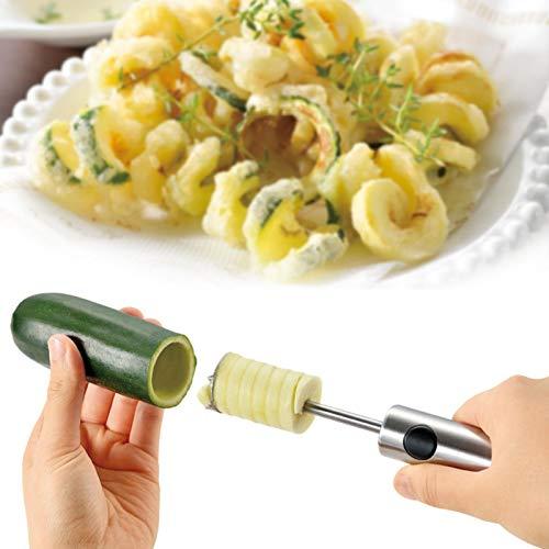 Gemüse Spiralschneider, Bohren Von Gemüsefruchtkern Mit 4 Klingen, Bohrergrabvorrichtung, Kernentfernungs Entkernungswerkzeug Aus Rostfreiem Stahl