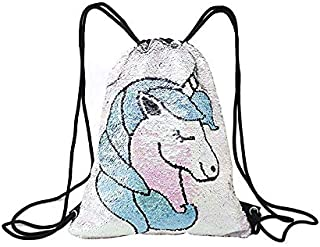 Mermaid Unicorn Drawstring Bag Reversible Sequin Girls Backpack Outdoor Glittering Shoulder Bag for Shopping Beach Hiking Travel Dance Gym One Size