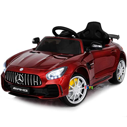 Ride On Car 12V Mercedes - Ride On Toys - Battery Powered Electric Car for Baby - with Parental Remote Control - Kids Ride in Car w/ Spoiler Mercedes GTR MP3 Plastic Wheels Horn Red