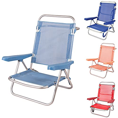 Silla Baja Plegable Evy Aluminio 80x62x50 cm. 4 Posiciones y 4 Colores (Azul Claro)