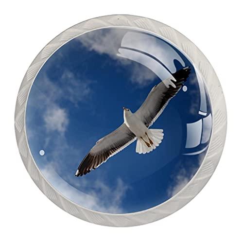 Wetia Maniglia Rotonda dell Armadio Maniglia Bianca del Fungo della Cucina di Modo Maniglia della Porta del cassetto del Bagno Gabbiano del Cielo Azzurro 3,5 x 2,8 cm