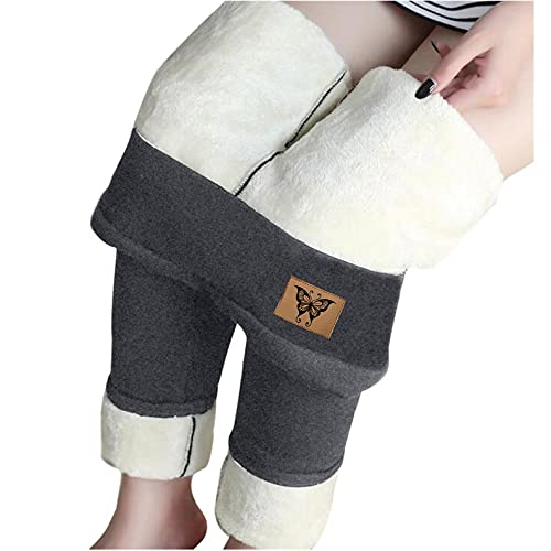 Winter Sherpa Fleece Lined Leggings for Women, High Waist Stretchy Thick Cashmere Leggings Plush Warm Thermal Pants D-Gray is $12 (52% off)