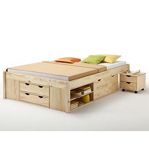 Funktionsbett Jugendbett Doppelbett SABRINA Kiefer massiv natur lackiert Liegefläche 140 x 200 cm (B x L) - 2
