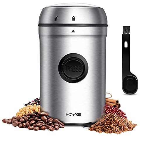 KYG Molinillo de Café Eléctrico 200W, con Cuchilla de Acero Inoxidable, Tapa de Seguridad Transparente, Capacidad de 80g, Ideal para Moler Granos de Café Hierbas Especias Nueces