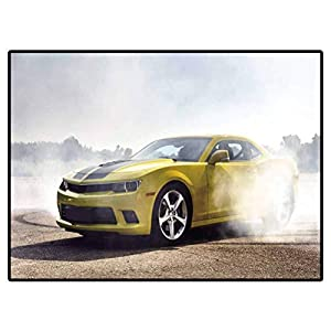 Area Rug Kitchen Voiture De Luxe Sportive Jaune Dérive, La Capture De Mouvement Camper Rugs Outdoor Floor Rugs for Living Room 6.6 X 10 Ft