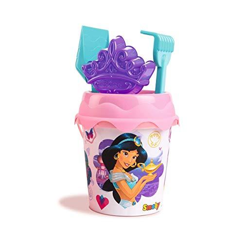 Simba- Cubo de Playa Princesas Disney con Pala, rastrillo, Molde y tamiz, 17 cm, Multicolor (862099)
