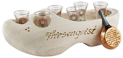 6er Friesengeist Servierholzschuh mit 6 Gläsern und Pfännchen ca.35cm lang