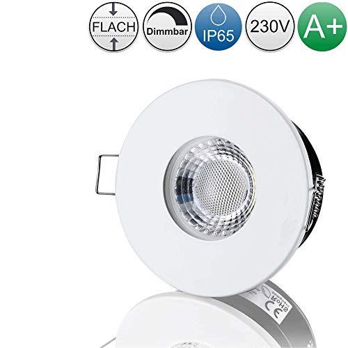 lambado® Premium LED Spots IP65 Flach für Badezimmer in Weiss - Moderne Deckenstrahler/Einbaustrahler für Außen inkl. 230V 5W Strahler neutralweiss dimmbar - Hell & Sparsam
