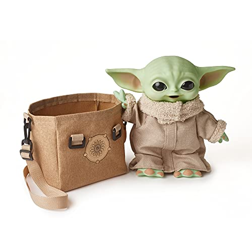 Star Wars The Child Plush Toy, 11-in Yoda Baby Figure from The Mandalorian, Collectible Stuffed Character with Carrying Satchel for Movie Fans Ages 3 and Older