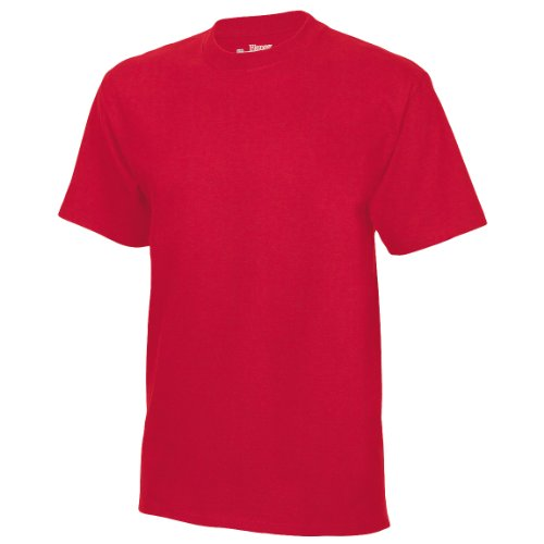 Hanes Herren T-Shirts USA Beefy-T Schlichte Ausführung, Crew - Rot - Deep Red - Medium