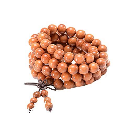 Pulsera de cuentas de Mala curativa de oración budista tibetana para hombres y mujeres, pulsera / collar de meditación de madera de Taxus natural, pulsera de Yoga / collar 108