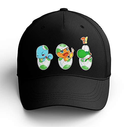 OKIWOKI Yoshi - Pokémon Lustiges Schwarz Kappe - Yoshi, SCHIGGY und GLUMANDA (Yoshi - Pokémon Parodie signiert Hochwertiges Kappe - Einheitsgröße - Ref : 885)