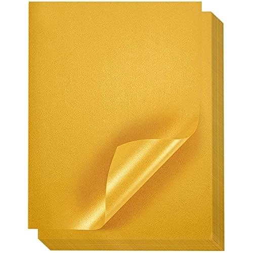 Juvale Metallic-Schimmerndes Goldfarbenes Papier (Set, 96 Stück) - Doppelseitig, 100 g/m². Laserdrucker Geeignet - Ideal zum Basteln, Origami, Papierblumen - 21,6 x 27,9 cm