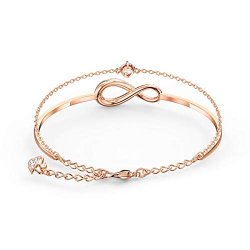 Swarovski Women's Infinity Bangle, Brilliant White Crystals in an Infinity Shape with a Singular Crystal Stone and a Rose-Gold Tone Plated Chain