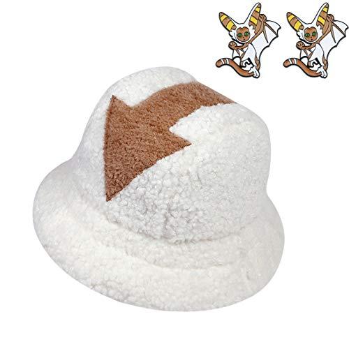 Qianpuren Avatar Appa Fluffy Bucket Hat mit Appa Brosche Cute Winter Teddy Fischerhut Geeignet für Frauen Mädchen Männer (Hut + Momo Brosche)